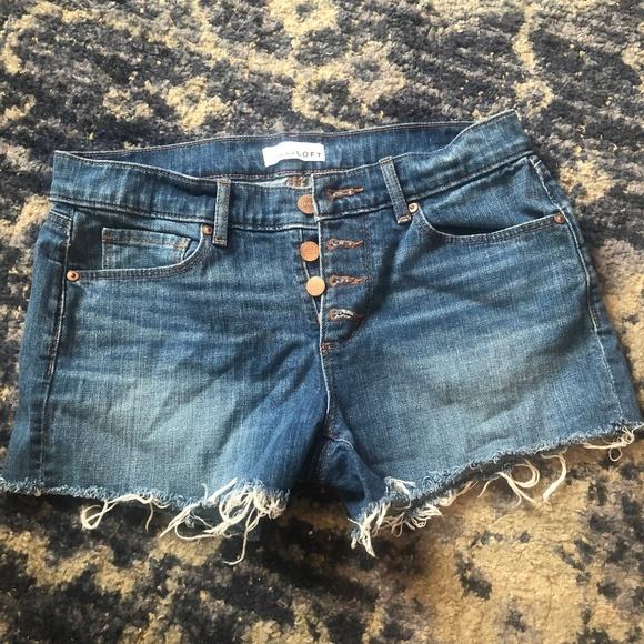 LOFT Pants - Loft Button-Up Shorts Raw Hem